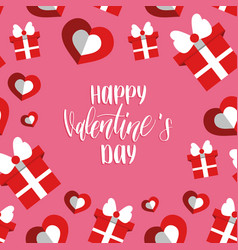 happy valentines day handwritten lettering card vector image vector image