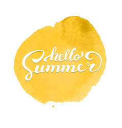 hello summer brush handwritten lettering on vector image