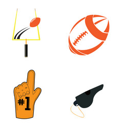 set of football related objects vector image vector image