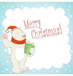 White polar bear Christmas greeting card vector image