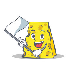 Cheese character cartoon style with flag vector