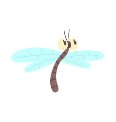 Cute cartoon funny dragonfly character vector