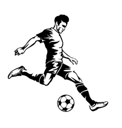 Football player with soccer ball silhouette vector image vector image
