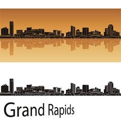 Grand Rapids skyline in orange background vector image vector image