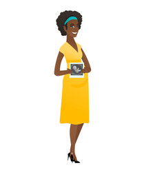pregnant african woman showing ultrasound scan vector image vector image