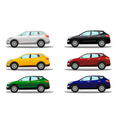 set of crossover vehicles in a variety of colors vector image