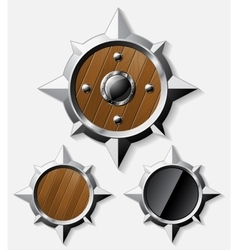 Shields from steel and wood isolated on grey vector image vector image