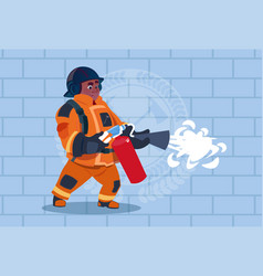 african american fireman hold extinguisher wearing vector image