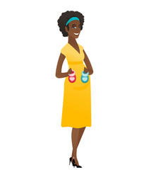 african pregnant woman holding baby booties vector image vector image
