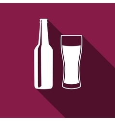 Bottle and glass of beer Icon with long shadow vector image vector image