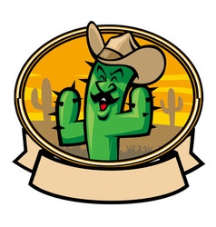 Cactus cowboy cartoon vector