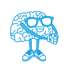 cute brain cartoon vector image