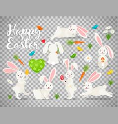 easter bunny set on transparent background vector image vector image