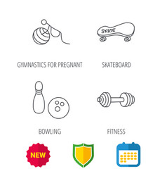bowling skateboard and fitness sport icons vector image vector image