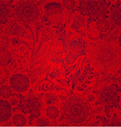 red wall-paper with a flower pattern vector image vector image