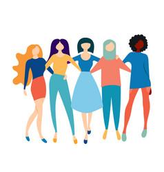 a company five women friends feminism vector image