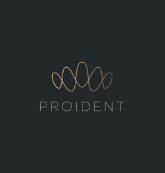 Abstract linear gold gradient crown logo design vector
