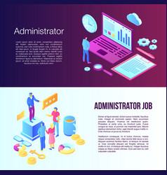Administrator banner set isometric style vector