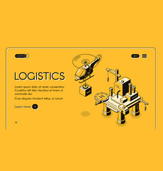 Air logistics company isometric web banner vector