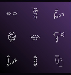 Barbershop icons line style set with lashes vector