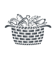 basket with sausages vector image