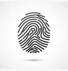 black fingerprint isolated on white background vector image