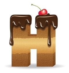 Cake letter H- birthday font vector