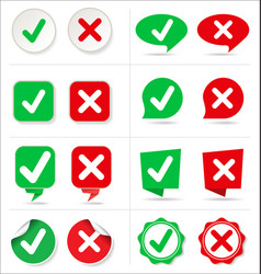 Cancel and check button collection vector