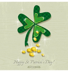 Card for St Patricks Day with clover and golden co vector image