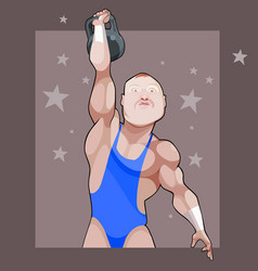cartoon male athlete raises his weight on a vector image