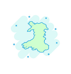 cartoon wales map icon in comic style wales sign vector image