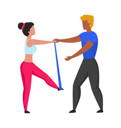 Cartoon workout fitness trainer sport exercises vector