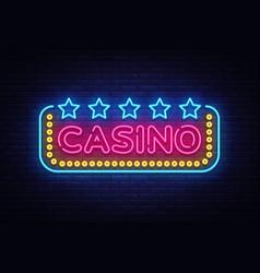 Casino neon sign design template casino vector