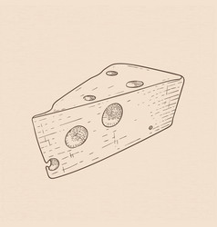 cheese hand drawn sketch vector image