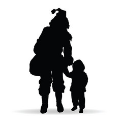 child silhouette with woman in black vector image