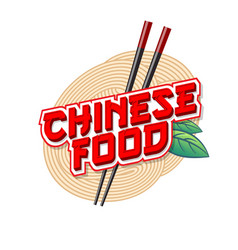 Chinese food logo noodle and chopsticks vector
