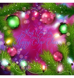 Christmas background with glowing garland vector