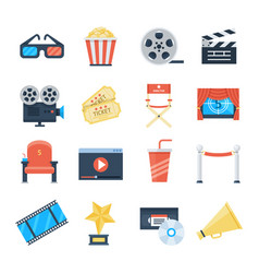 cinema icons in a flat style vector image