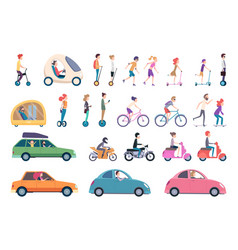 City transport people driving cars scooter bike vector