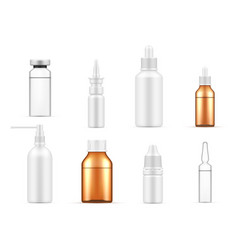 Collection realistic medical plastic and glass vector