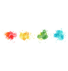 color splashing hand drawn watercolor bright set vector image