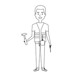 Construction workman avatar character vector