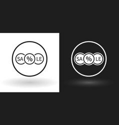 Creative sale icon in white and black version vector