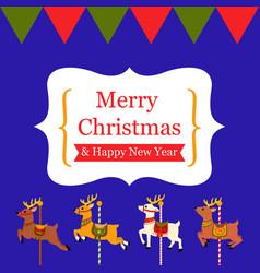 Cute reindeer carousel christmas card vector