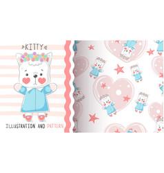 Cute teddy kitty - seamless pattern vector