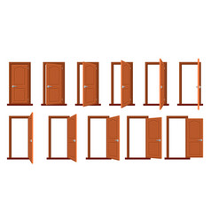 Door animation opened and closed wooden doors vector