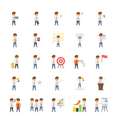 Engaging icons of businessman at office vector