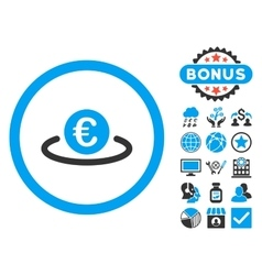 Euro Placement Flat Icon with Bonus vector