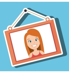Face girl framed picture hanging vector