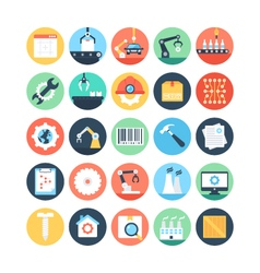 Factory Manufacturing Production Icons 2 vector